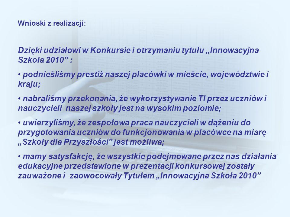 podnieśliśmy prestiż naszej placówki w mieście, województwie i kraju;