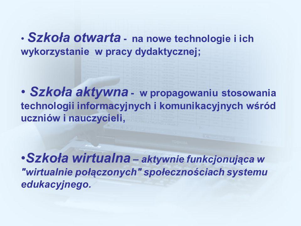 Szkoła otwarta - na nowe technologie i ich wykorzystanie w pracy dydaktycznej;