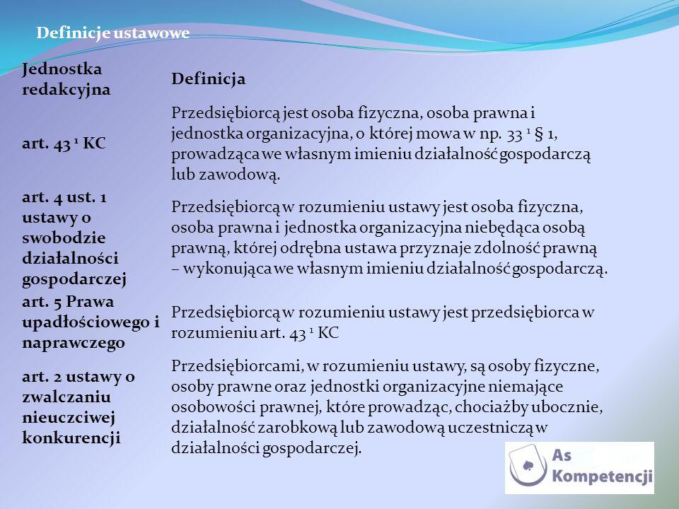 Definicje ustawowe Jednostka redakcyjna. Definicja. art. 43 1 KC.