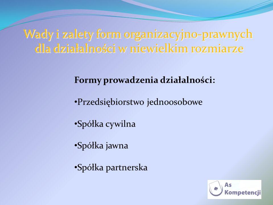 Wady i zalety form organizacyjno-prawnych