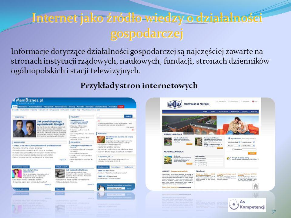 Internet jako źródło wiedzy o działalności