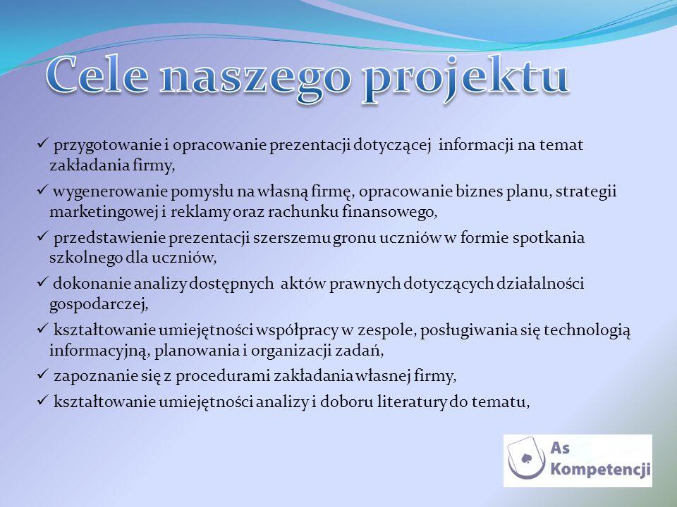 Cele naszego projektu przygotowanie i opracowanie prezentacji dotyczącej informacji na temat zakładania firmy,