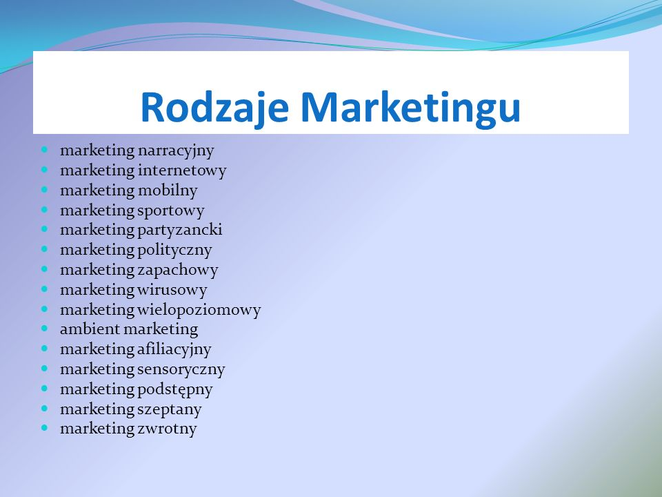 Rodzaje Marketingu marketing narracyjny marketing internetowy