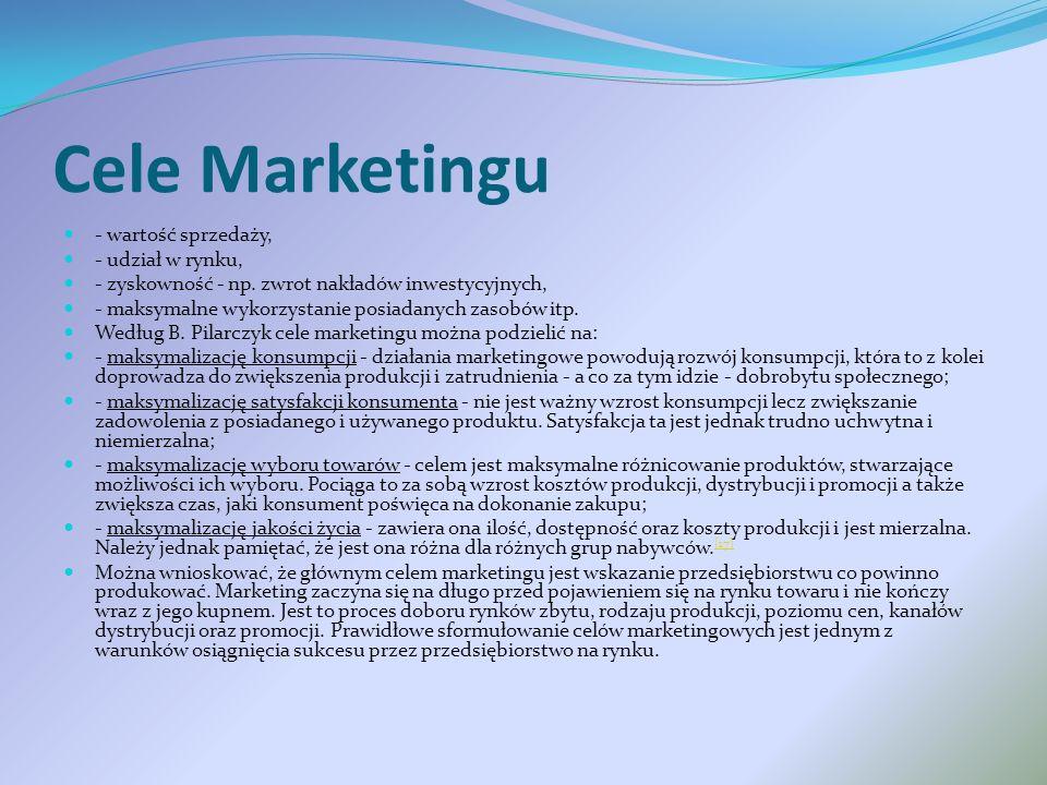 Cele Marketingu - wartość sprzedaży, - udział w rynku,