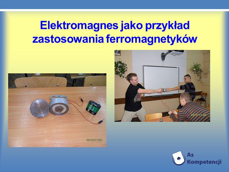 Elektromagnes jako przykład zastosowania ferromagnetyków