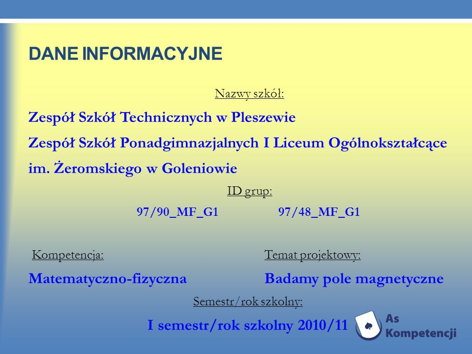 I semestr/rok szkolny 2010/11
