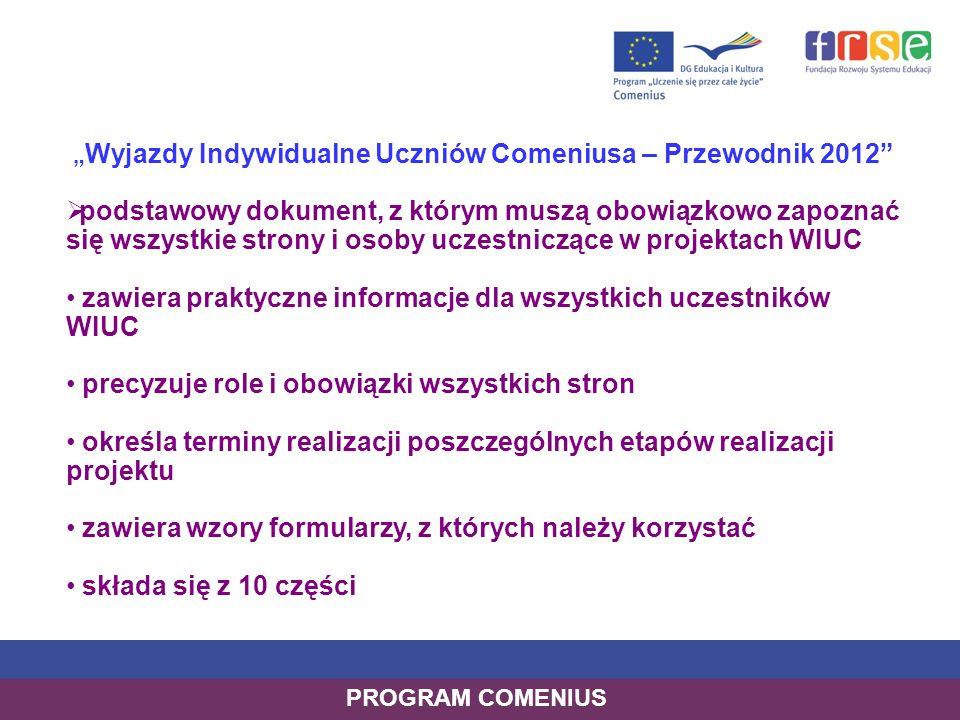 """""""Wyjazdy Indywidualne Uczniów Comeniusa – Przewodnik 2012"""