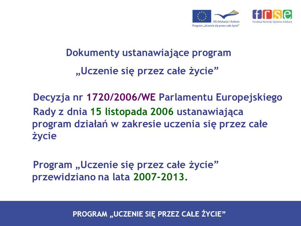 """Dokumenty ustanawiające program """"Uczenie się przez całe życie Decyzja nr 1720/2006/WE Parlamentu Europejskiego Rady z dnia 15 listopada 2006 ustanawiająca program działań w zakresie uczenia się przez całe życie Program """"Uczenie się przez całe życie przewidziano na lata 2007-2013."""