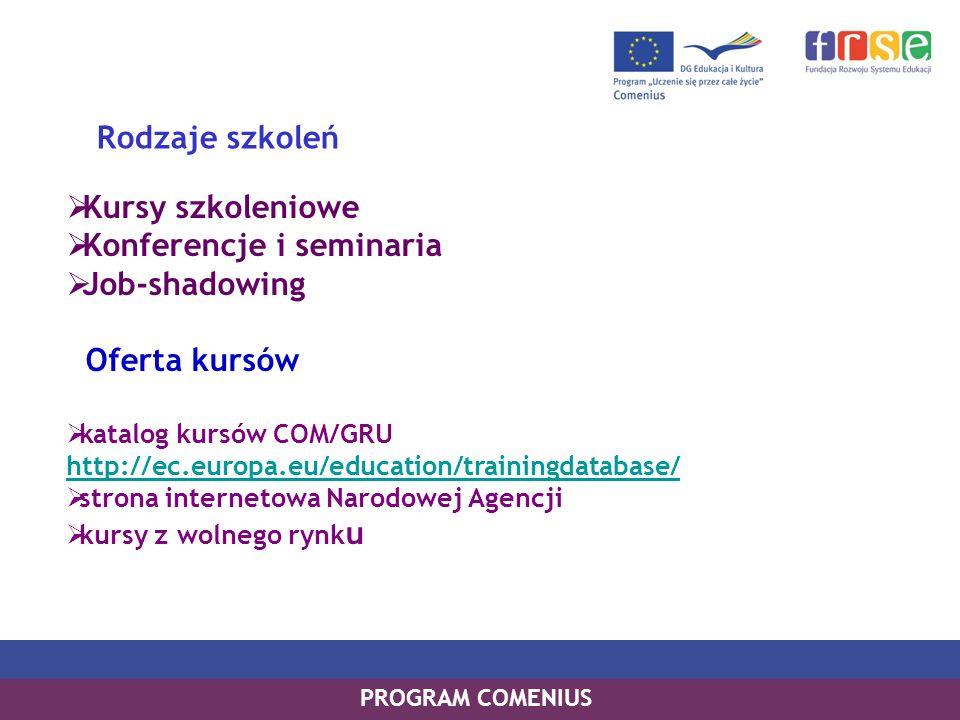 Konferencje i seminaria Job-shadowing Oferta kursów Rodzaje szkoleń
