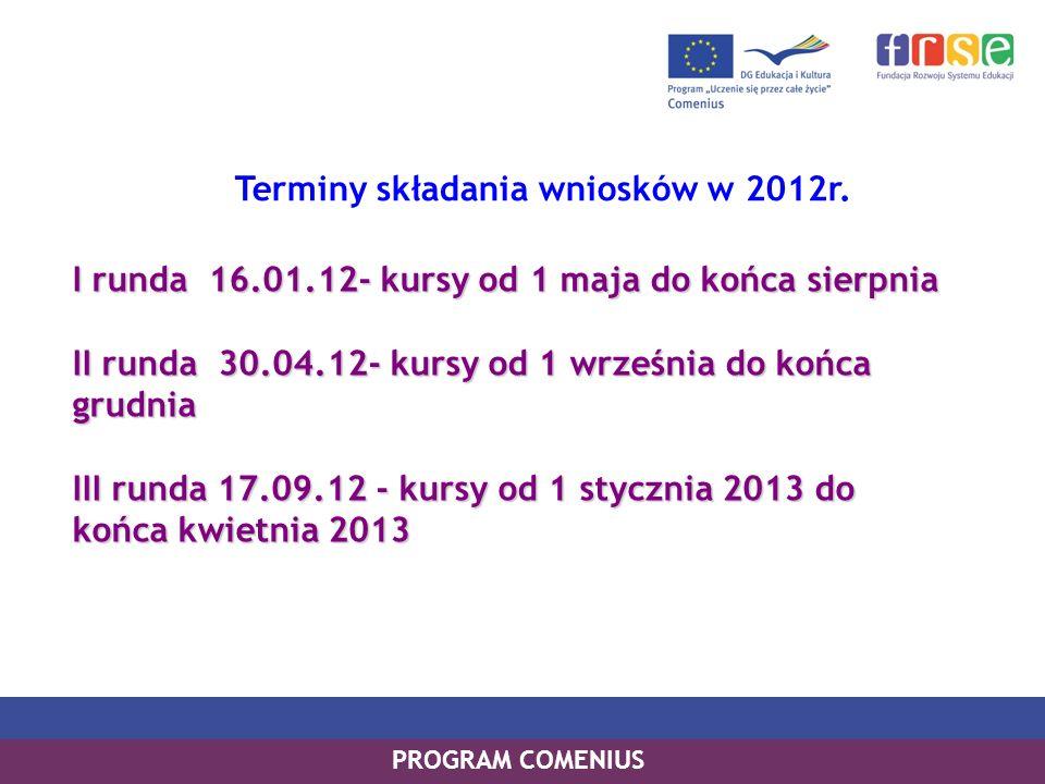 Terminy składania wniosków w 2012r.