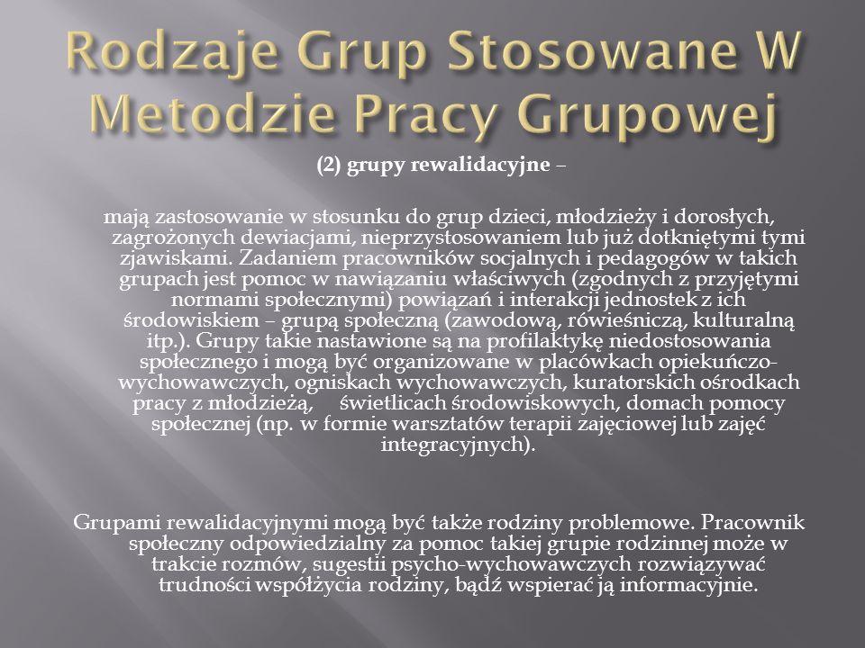 Rodzaje Grup Stosowane W Metodzie Pracy Grupowej