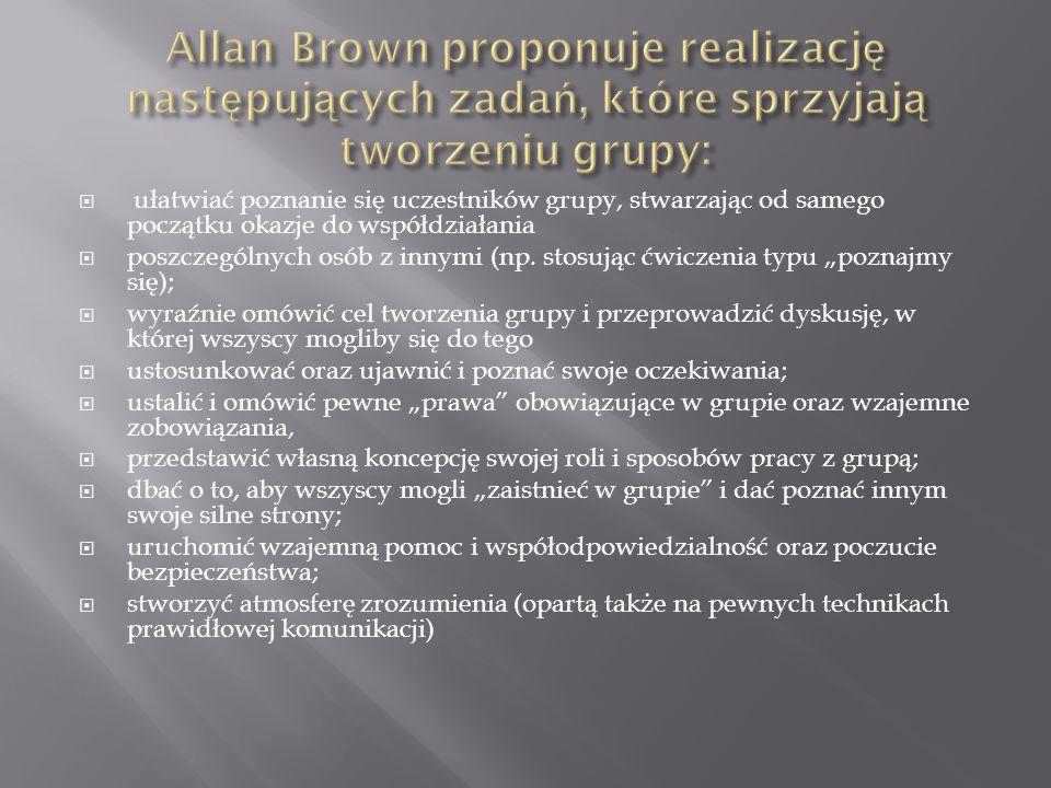 Allan Brown proponuje realizację następujących zadań, które sprzyjają tworzeniu grupy: