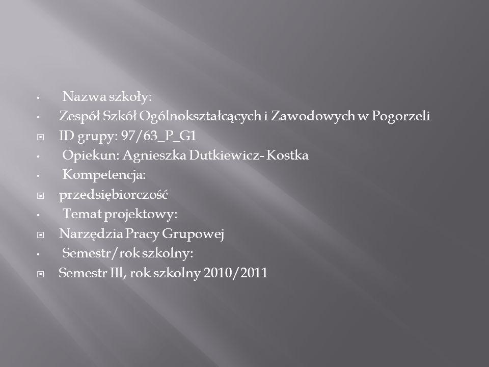 Nazwa szkoły:Zespół Szkół Ogólnokształcących i Zawodowych w Pogorzeli. ID grupy: 97/63_P_G1. Opiekun: Agnieszka Dutkiewicz- Kostka.
