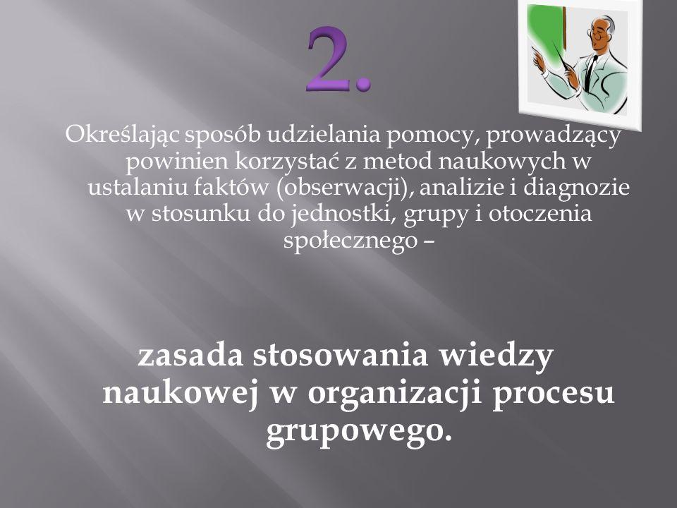 zasada stosowania wiedzy naukowej w organizacji procesu grupowego.