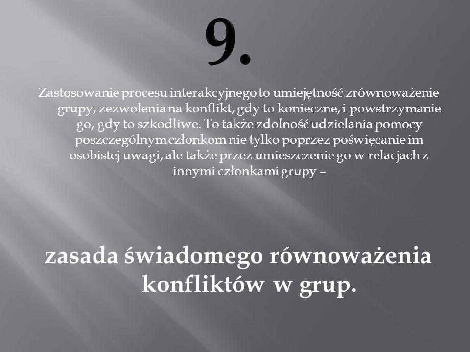 zasada świadomego równoważenia konfliktów w grup.