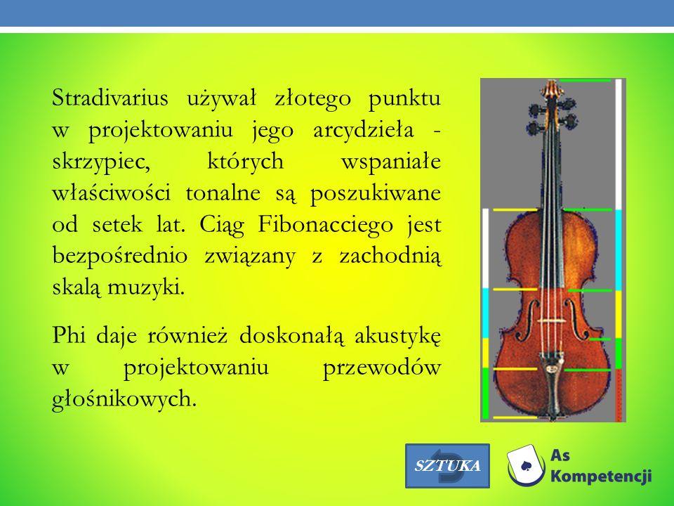 Stradivarius używał złotego punktu w projektowaniu jego arcydzieła - skrzypiec, których wspaniałe właściwości tonalne są poszukiwane od setek lat. Ciąg Fibonacciego jest bezpośrednio związany z zachodnią skalą muzyki. Phi daje również doskonałą akustykę w projektowaniu przewodów głośnikowych.