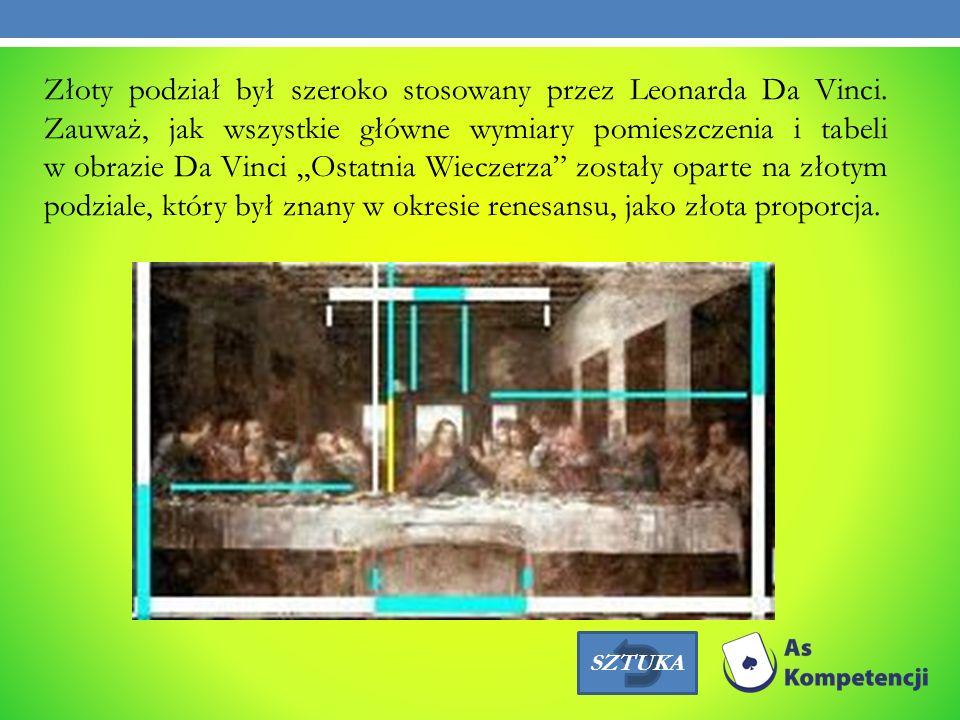 Złoty podział był szeroko stosowany przez Leonarda Da Vinci