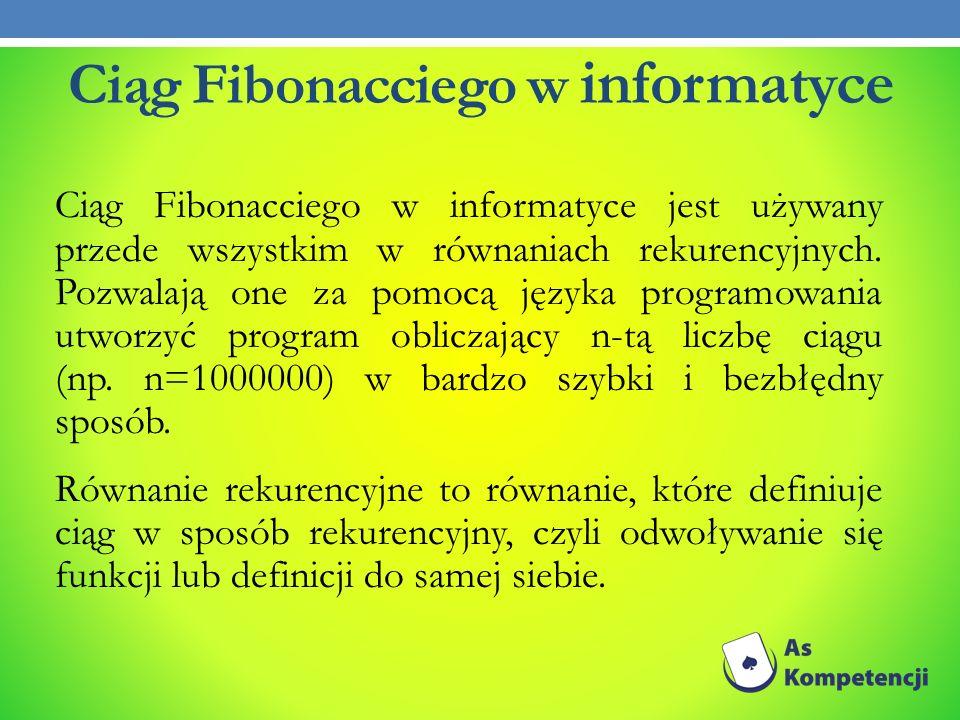 Ciąg Fibonacciego w informatyce