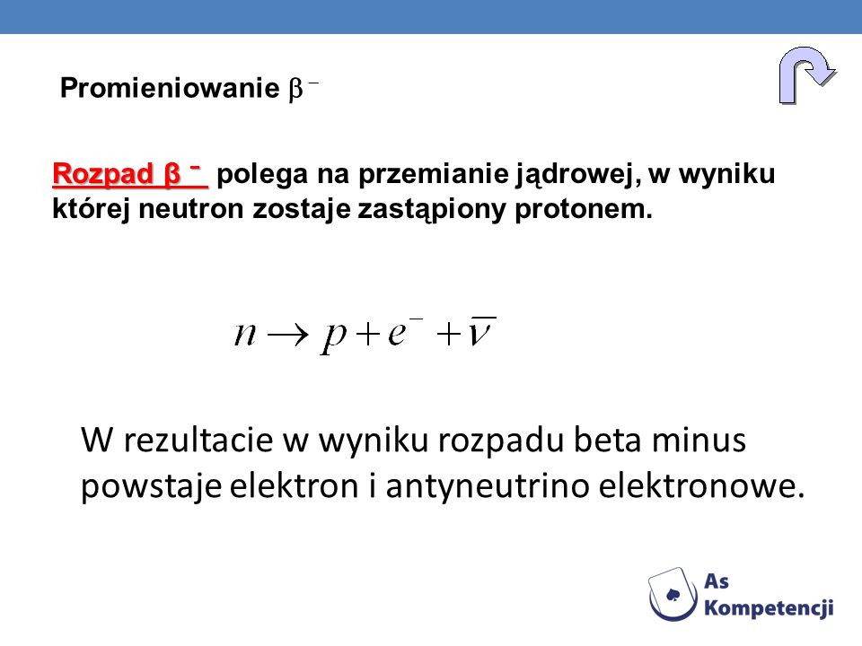 Promieniowanie b - Rozpad β − polega na przemianie jądrowej, w wyniku której neutron zostaje zastąpiony protonem.