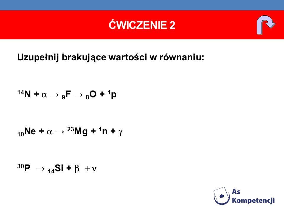 Ćwiczenie 2 Uzupełnij brakujące wartości w równaniu: 14N + a → 9F → 8O + 1p 10Ne + a → 23Mg + 1n + g 30P → 14Si + b + n