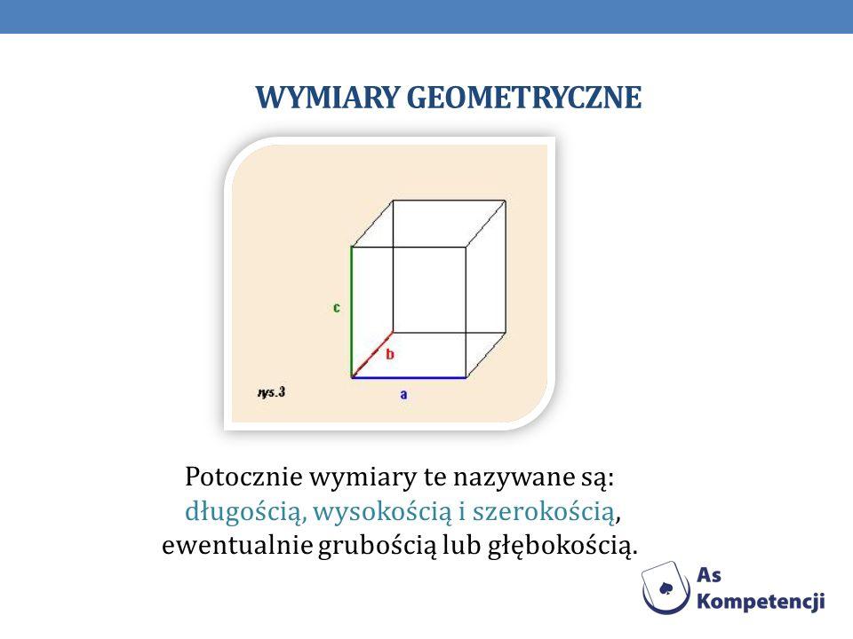 Wymiary geometryczne Potocznie wymiary te nazywane są: