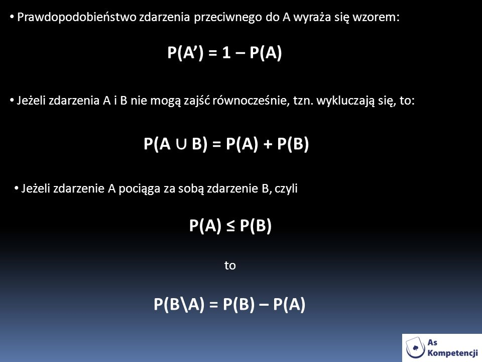 P(A') = 1 – P(A) P(A ∪ B) = P(A) + P(B) P(A) ≤ P(B)