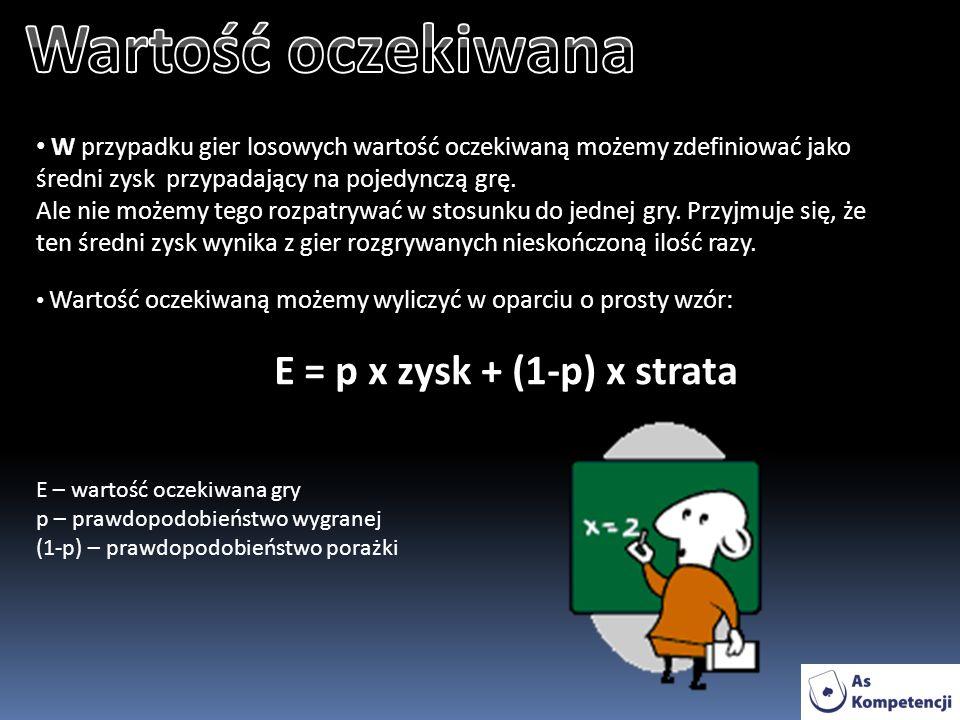 E = p x zysk + (1-p) x strata