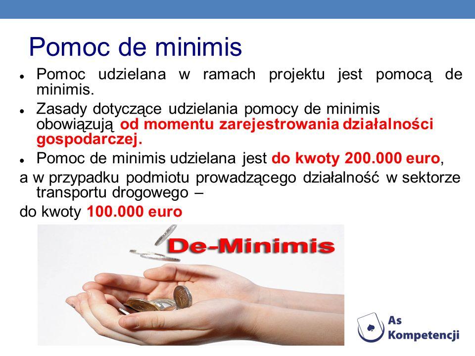 Pomoc de minimisPomoc udzielana w ramach projektu jest pomocą de minimis.