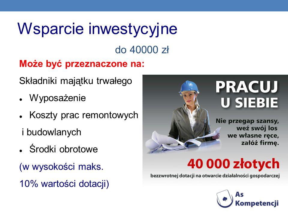 Wsparcie inwestycyjne do 40000 zł