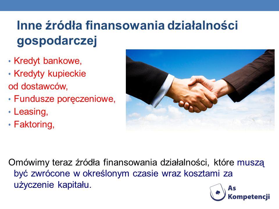 Inne źródła finansowania działalności gospodarczej