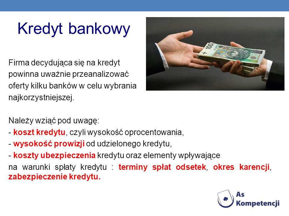 Kredyt bankowy Firma decydująca się na kredyt