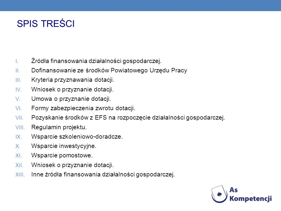 SPIS TREŚCI Źródła finansowania działalności gospodarczej.
