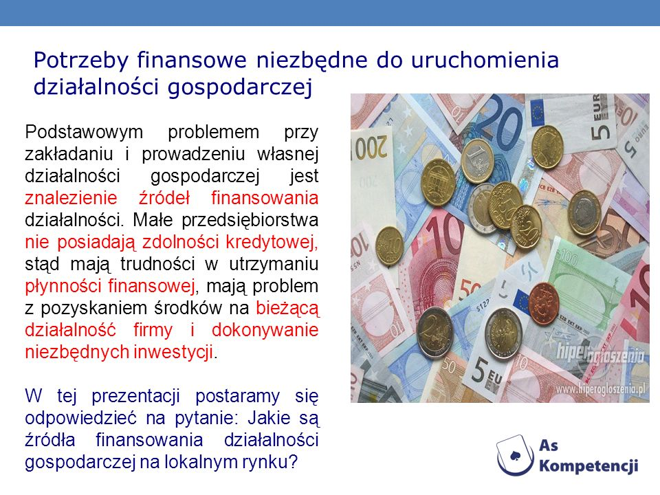 Potrzeby finansowe niezbędne do uruchomienia działalności gospodarczej
