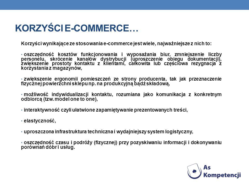 Korzyści e-commerce… Korzyści wynikające ze stosowania e-commerce jest wiele, najważniejsze z nich to: