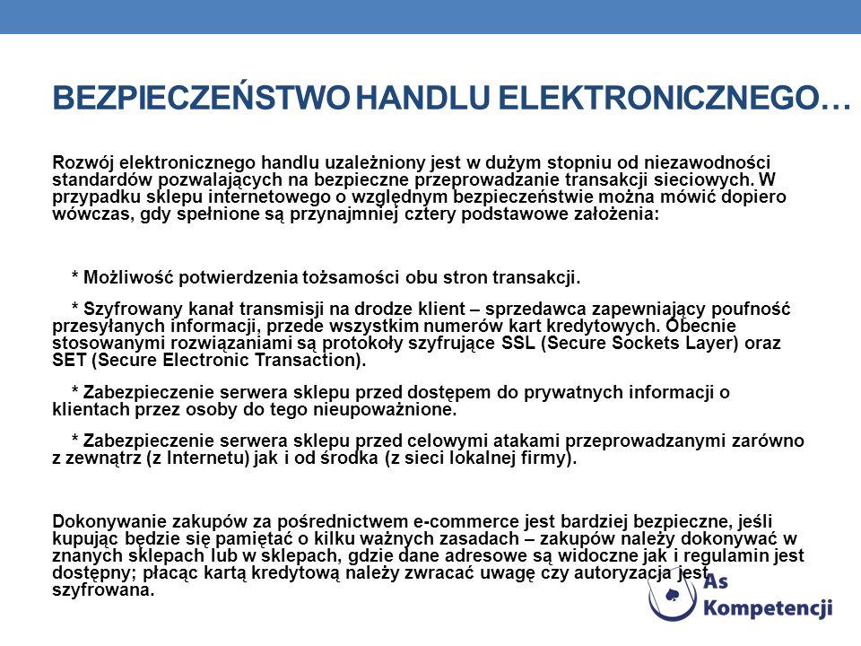 Bezpieczeństwo handlu elektronicznego…