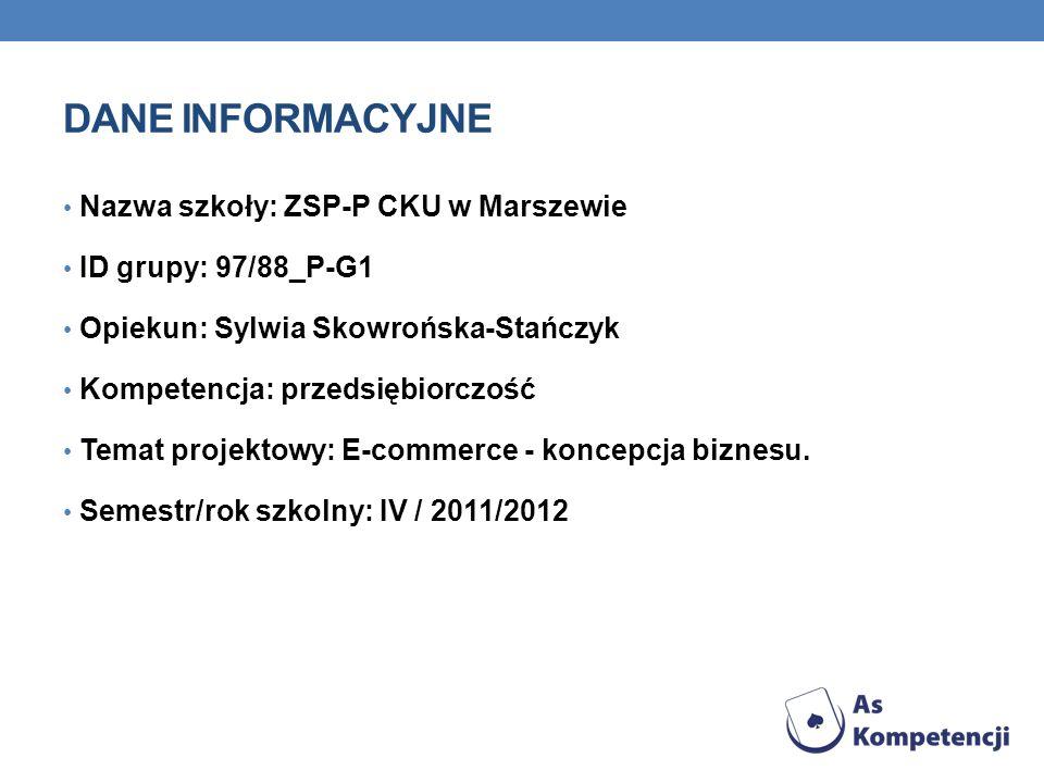 Dane INFORMACYJNE Nazwa szkoły: ZSP-P CKU w Marszewie