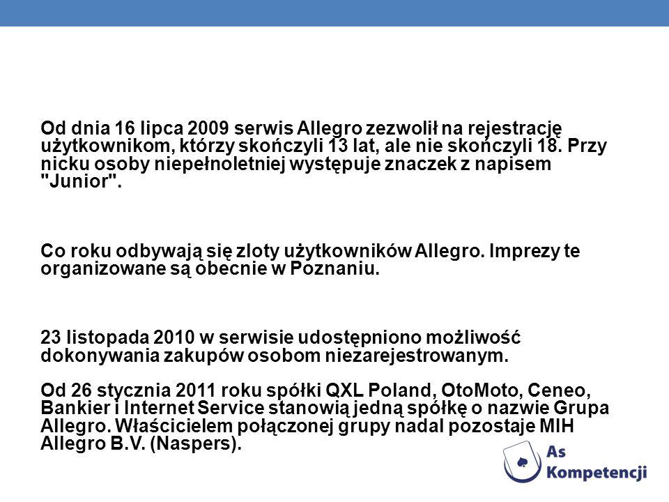 Od dnia 16 lipca 2009 serwis Allegro zezwolił na rejestrację użytkownikom, którzy skończyli 13 lat, ale nie skończyli 18.