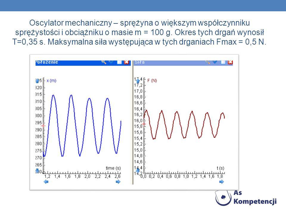 Oscylator mechaniczny – sprężyna o większym współczynniku sprężystości i obciążniku o masie m = 100 g.