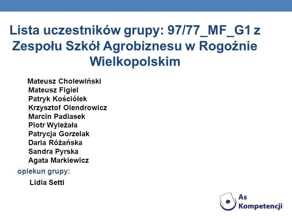 Lista uczestników grupy: 97/77_MF_G1 z Zespołu Szkół Agrobiznesu w Rogoźnie Wielkopolskim