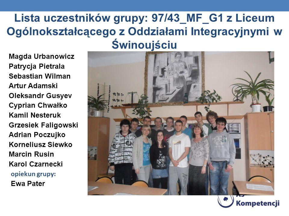 Lista uczestników grupy: 97/43_MF_G1 z Liceum Ogólnokształcącego z Oddziałami Integracyjnymi w Świnoujściu