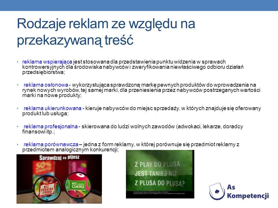 Rodzaje reklam ze względu na przekazywaną treść