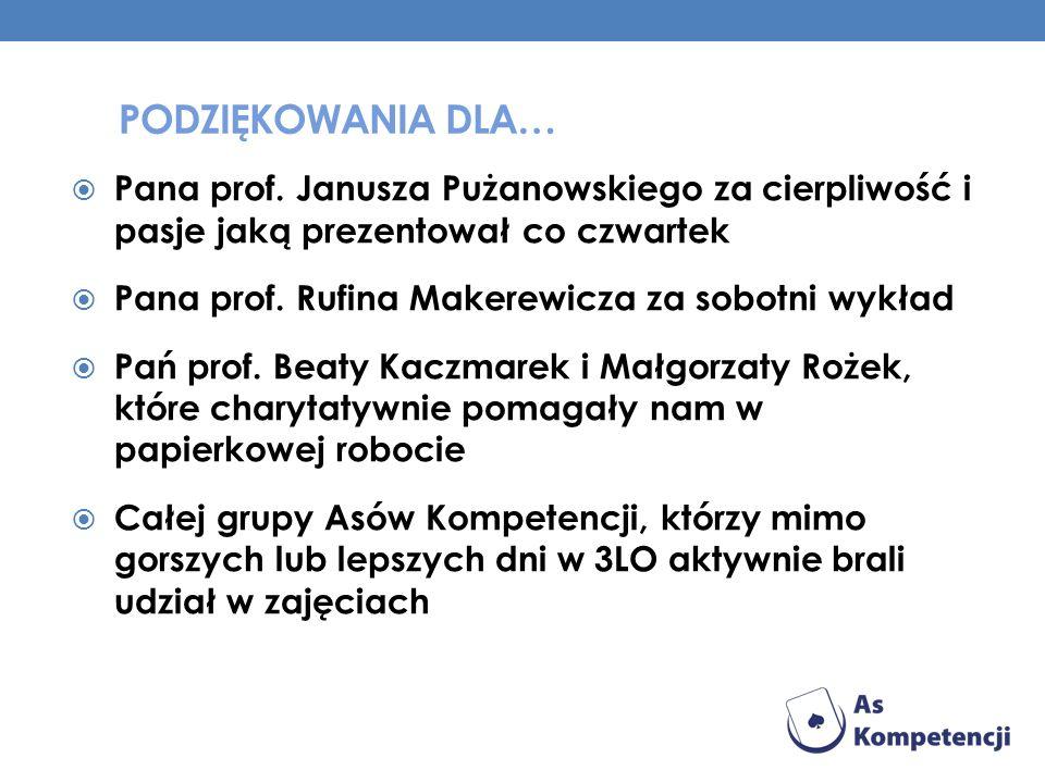 Podziękowania dla… Pana prof. Janusza Pużanowskiego za cierpliwość i pasje jaką prezentował co czwartek.