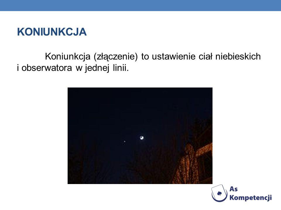 koniunkcja Koniunkcja (złączenie) to ustawienie ciał niebieskich i obserwatora w jednej linii.