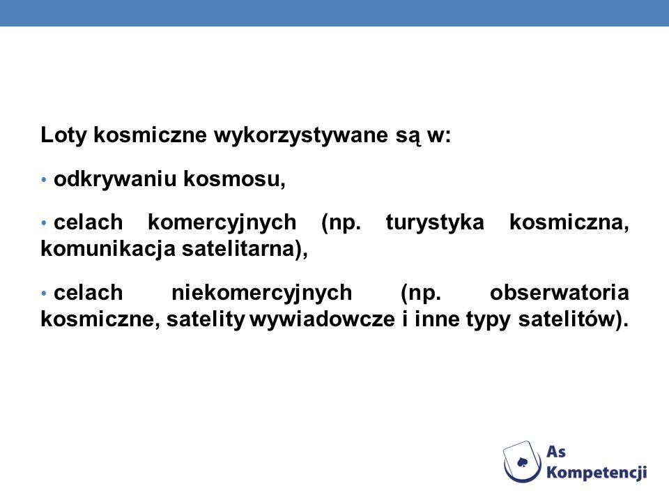Loty kosmiczne wykorzystywane są w: