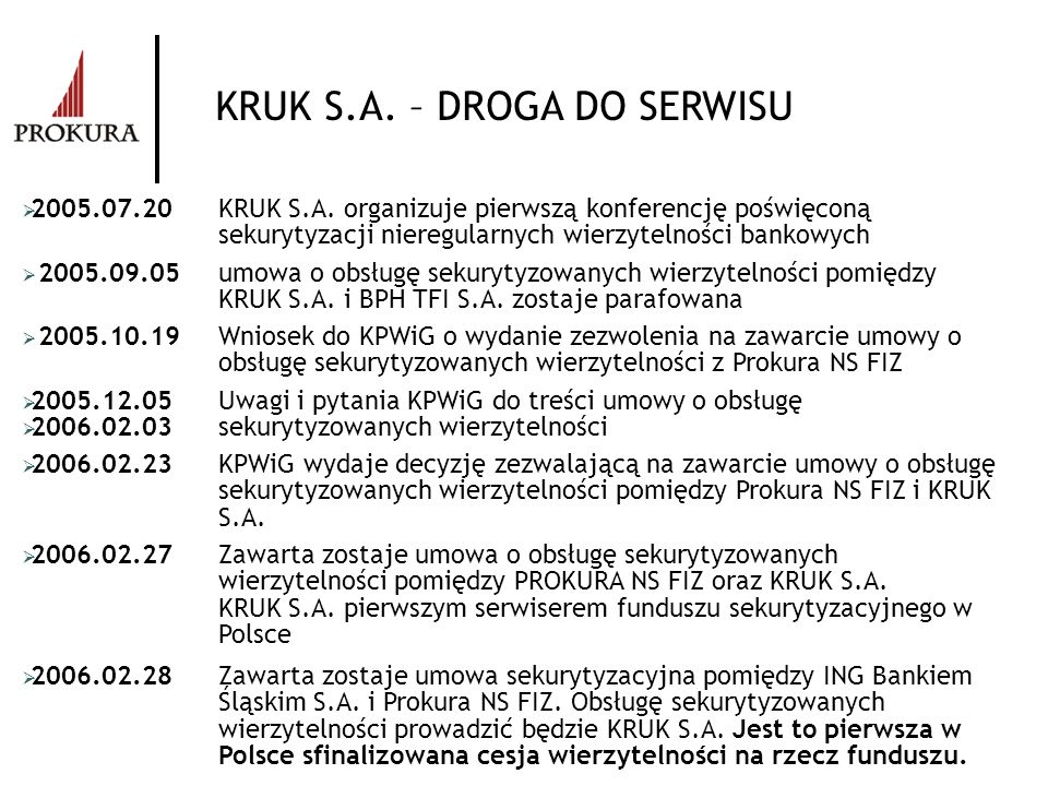 KRUK S.A. – DROGA DO SERWISU