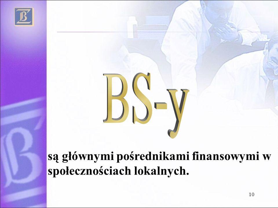 BS-y są głównymi pośrednikami finansowymi w społecznościach lokalnych.