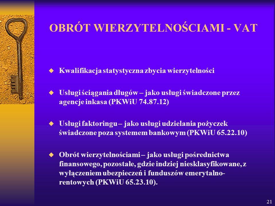 OBRÓT WIERZYTELNOŚCIAMI - VAT