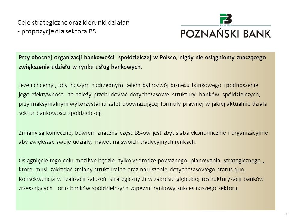 Cele strategiczne oraz kierunki działań - propozycje dla sektora BS.