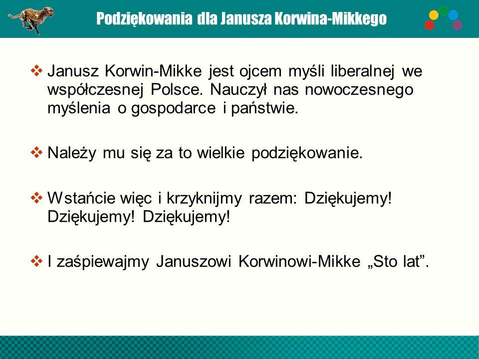 Podziękowania dla Janusza Korwina-Mikkego
