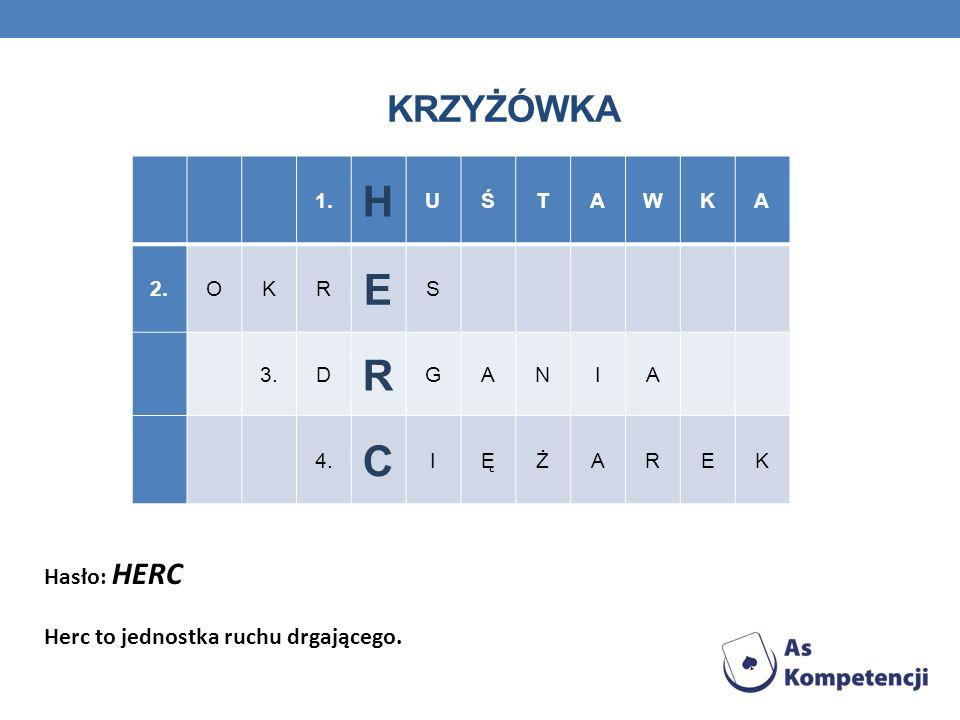 H E C KRZYŻÓWKA Hasło: HERC Herc to jednostka ruchu drgającego. 1. U Ś